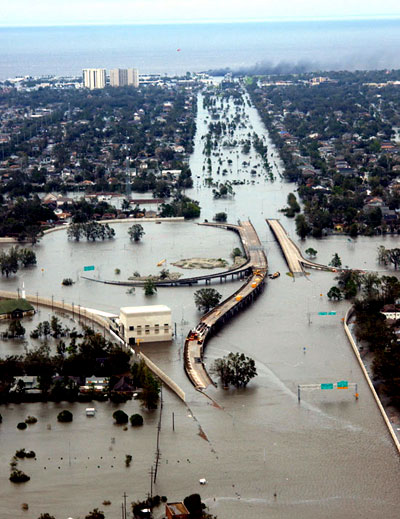 A freeway is submerged by the flood